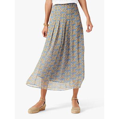 Brora Liberty Floral Silk Chiffon Midi Skirt, Multi