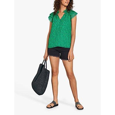hush Gigi Leopard Print Frill Sleeve Top, Green
