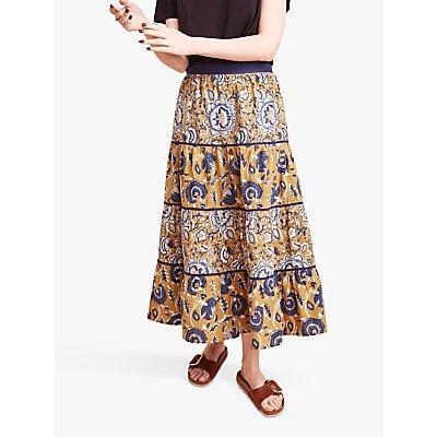 East Jeena Maxi Skirt, Yellow/Navy