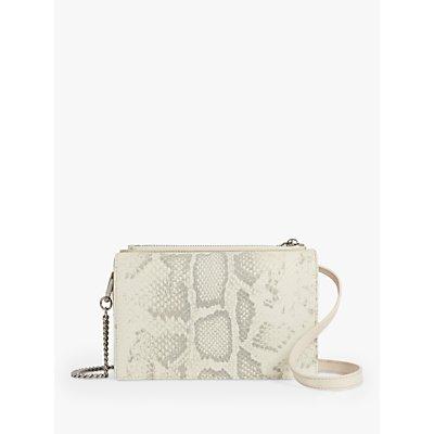 AllSaints Claremount Leather Snake Chain Cross Body Bag, Chalk White