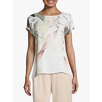 Betty & Co Cross Back Floral Print Top, White/Khaki