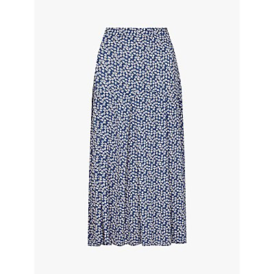 Finery Jocelyn Ditsy Floral Midi Skirt, Blue