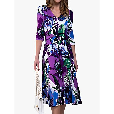 Jolie Moi Twist Dress, Purple Floral