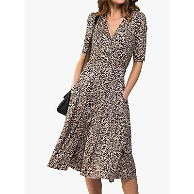 Jolie Moi Cross Midi Dress, Neutral Animal