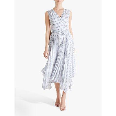 Fenn Wright Manson Amanda Holden Collection Lily Polka Dot Pleated Wrap Dress, White