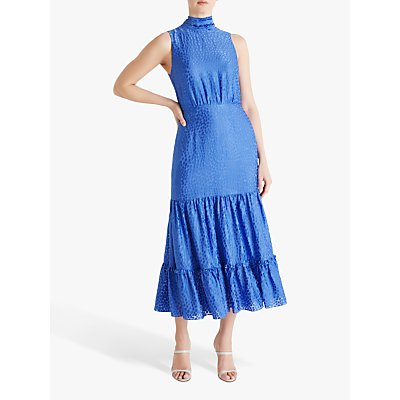 Fenn Wright Manson Amanda Holden Collection Charlotte Burnout Spot Midi Dress, Cornflower