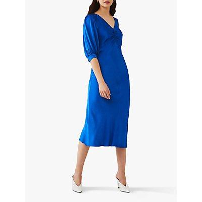 Ghost Iowa Satin Midi Dress, Bright Blue