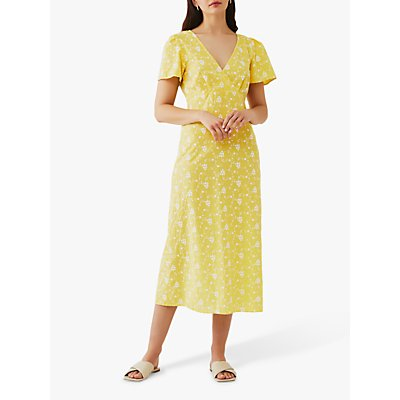 Ghost Lilybelle Floral Embroidered Cotton Midi Dress, Yellow