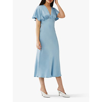 Ghost Bluebell Satin Midi Dress