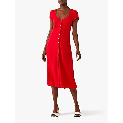 Ghost Leona Crepe Button Through Midi Dress
