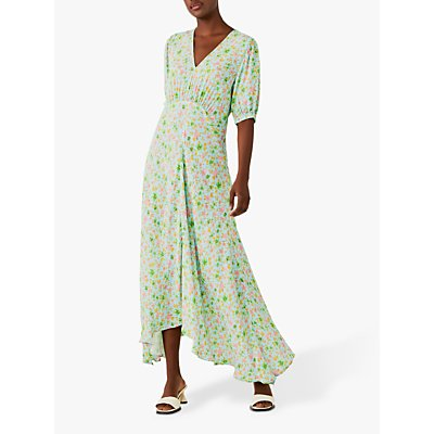 Ghost Cici Floral Asymmetric Maxi Dress, Garden Blue