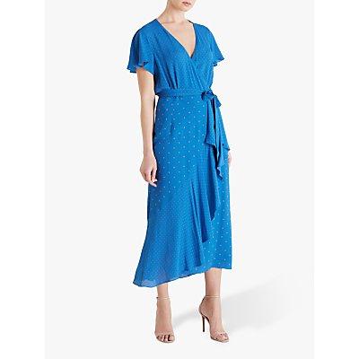 Fenn Wright Manson Carla Wrap Dress, Blue/Apricot Spot