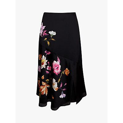 Ted Baker Hayleyy Floral Print Skirt, Black/Multi