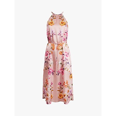 Ted Baker Megarra Rhubarb Floral Halter Neck Midi Dress