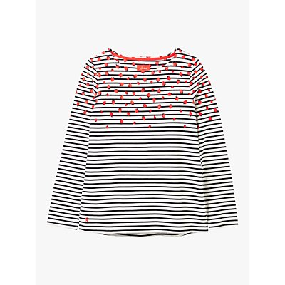 Joules Harbour Strawberry Stripe Jersey Top, Red/Multi
