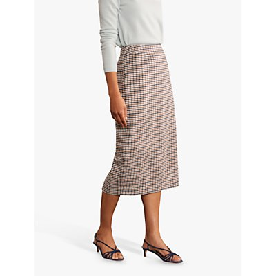 Boden Carbury Pencil Gingham Midi Skirt, Camel