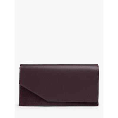 L.K.Bennett Demi Leather Envelope Clutch Bag, Red Wine