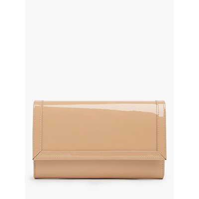 L.K.Bennett Dayana Patent Leather Clutch Bag, Trench