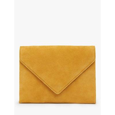 L.K.Bennett Della Suede Envelope Clutch Bag, Yellow