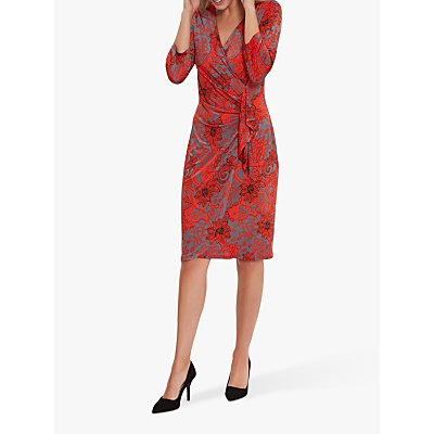 Gina Bacconi Floral Jersey Dress, Red
