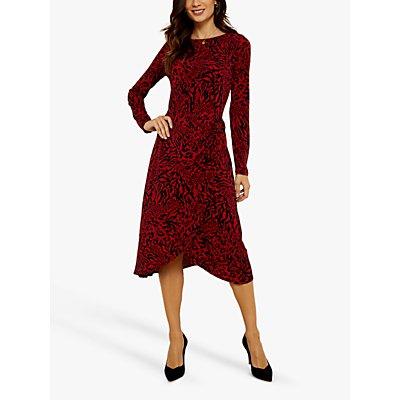 Sosandar Animal Print Jersey Stretch Midi Dress, Red/Black