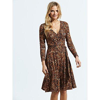 Sosandar Animal Print Wrap Front Dress, Golden