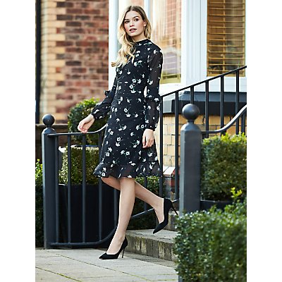 Sosandar Floral Print Fit And Flare Ruffle Dress, Black