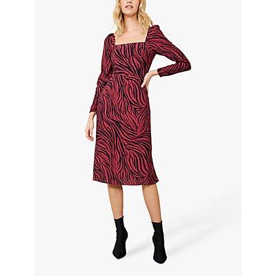 Sosandar Zebra Print Square Neck Midi Dress, Pink