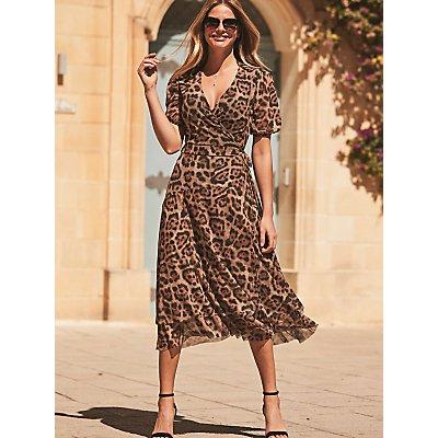 Sosandar Leopard Print Mesh Wrap Dress, Brown