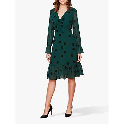 Sosandar Spot Print V-Neck Dress, Green/Black
