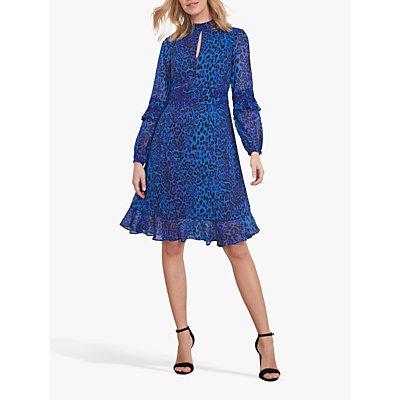 Sosandar Leopard Print Fit And Flare Ruffle Dress