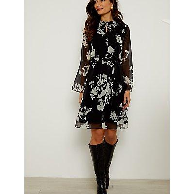 Sosandar Floral Print Belted Shift Dress, Black/White