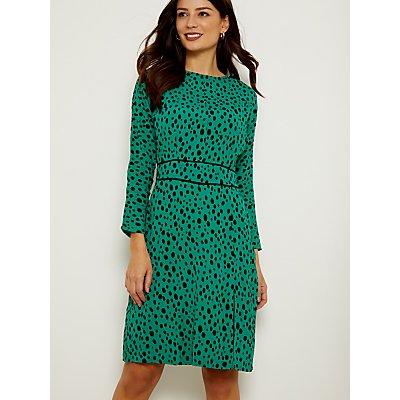 Sosandar Spot Print Waist Detail Dress, Green