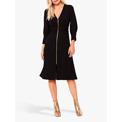 Sosandar Zip Front Fit And Flare Dress, Black
