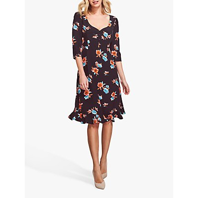 Sosandar Floral Print Sweetheart Neck Dress, Black/Multi