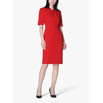L.K.Bennett Caterina Twist Neck Knee Length Dress, Deep Red