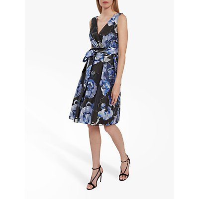 Gina Bacconi Eslanda Floral Burnout Dress, Black/Blue