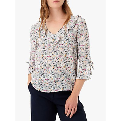 Brora Liberty Animal Print Silk Blouse, Hare
