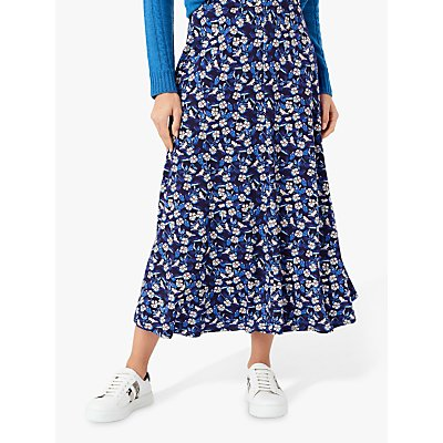 Brora Liberty Floral Print Jersey Skirt, Ink Blue