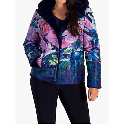 chesca Floral Reversible Faux Fur Hooded Jacket, Purple