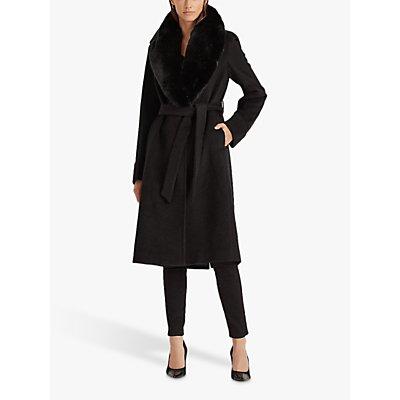 Lauren Ralph Lauren Wrap Faux Fur Trim Coat