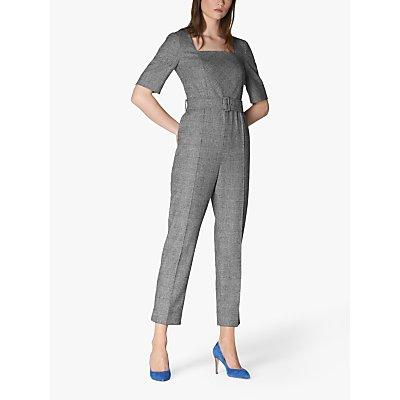 L.K.Bennett Sage Wool Blend Check Jumpsuit, Black/Multi