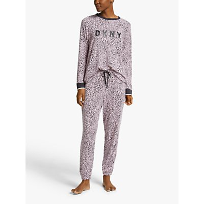 DKNY Name Drop Leopard Jogger Pyjama Set  Pink Multi - 769373883398