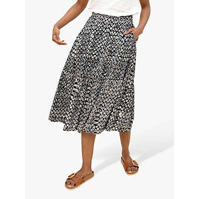 East Daya Batik Print Tiered Midi Skirt, Black