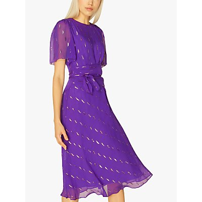 L.K.Bennett Eve Floral Embellished Midi Dress, Purple