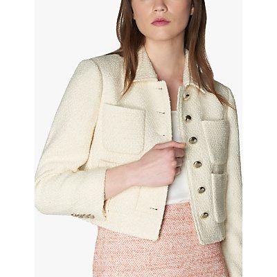L.K.Bennett Hope Tweed Cropped Jacket, Cream