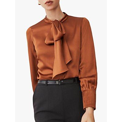 The Fold Delora Satin Tie Neck Blouse, Toffee
