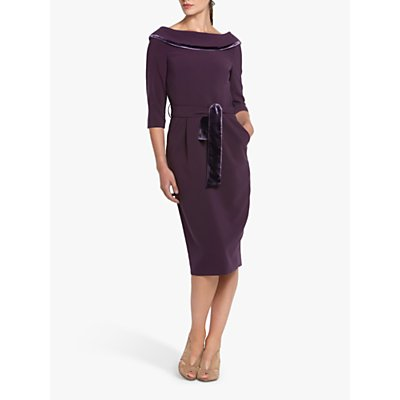 Helen McAlinden Mirren Cowl Neck Knee Length Dress, Mulberry