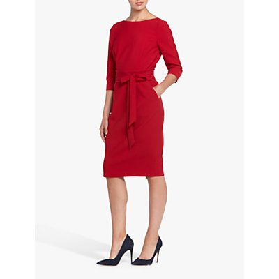 Helen McAlinden Obi Caroline Tie Waist Pencil Dress, Imperial Red