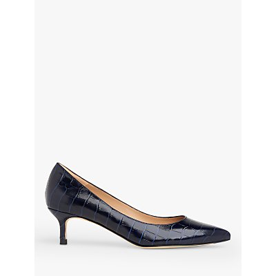 L.K.Bennett Audrey Leather Croc-Effect Kitten Heel Court Shoes, Blue/Navy